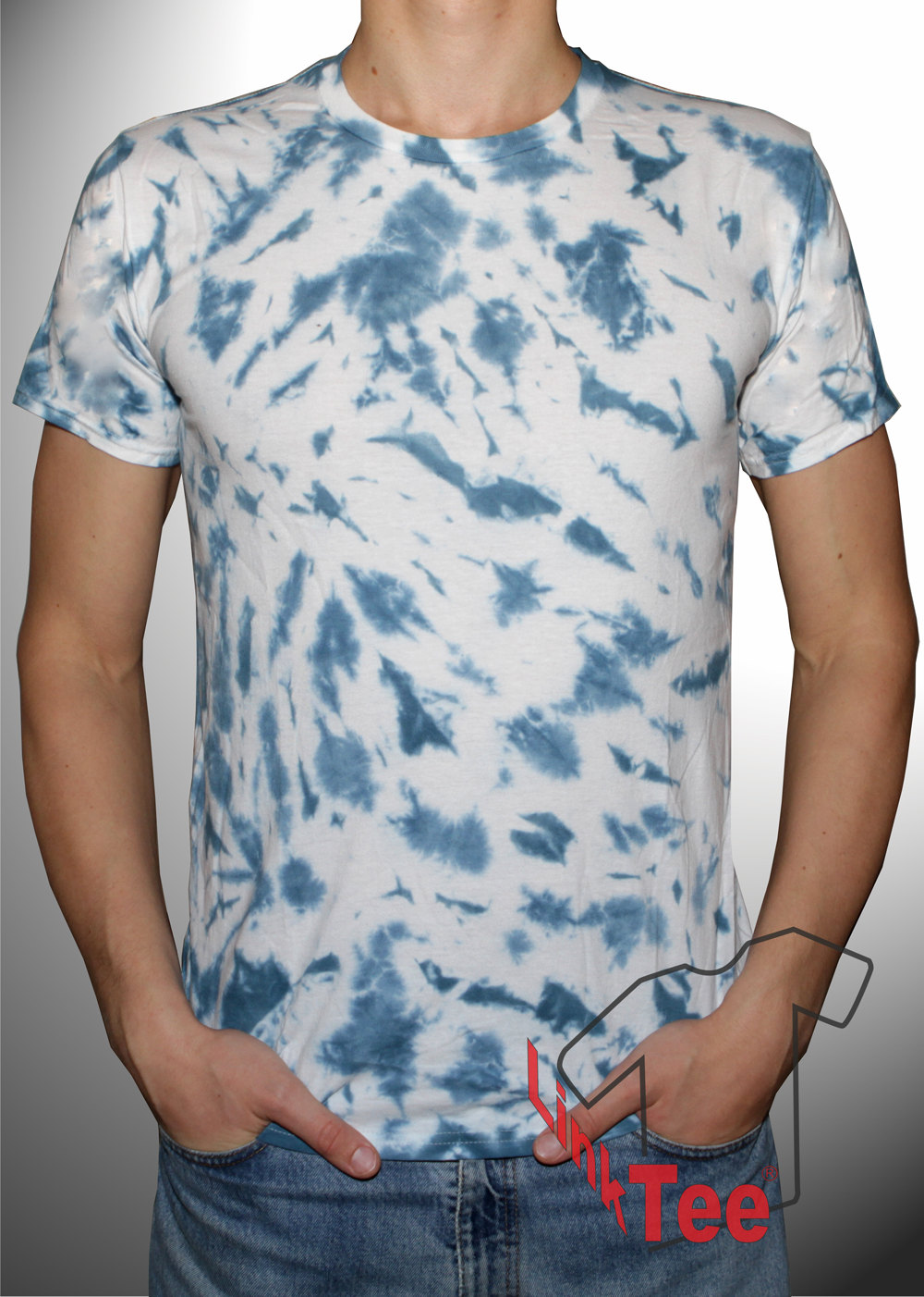 Denim navy blue tie dye shirt hippie festival clothes