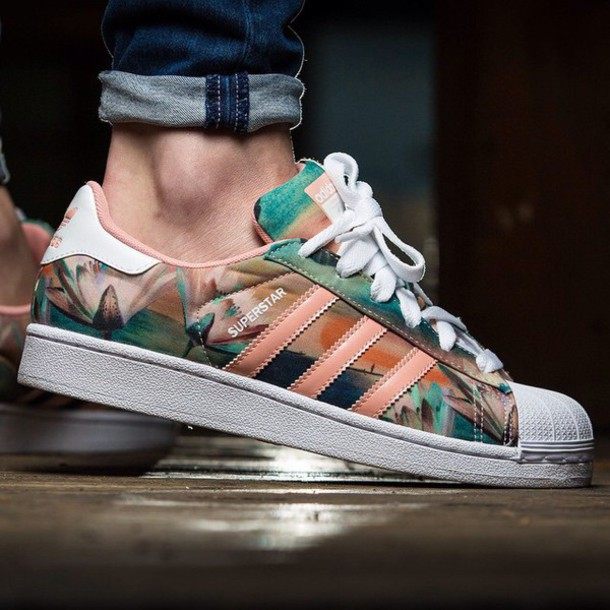 shoes, adidas, floral, colorful, pastel, summer, style, sneakers, adidas superstars, pastel sneakers - Wheretoget
