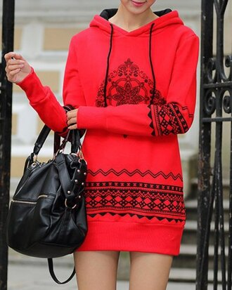 dress red long sleeves fall outfits trendy stylish cool warm cozy winter dress casual style hooded long sleeve ethnic print women's pullover hoodie cute girly