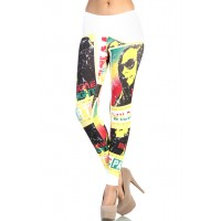 LoveMelrose.com From Harry & Molly | Bob Marley Reggae Nights Leggings - White