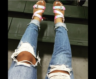 shoes amourjayda jeans sandals hologram sandals iridescent birkenstock? style snake skin pink rainbow strappy strappy sandals holographic