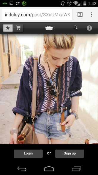 shirt aztec boho gypsy stripes shorts