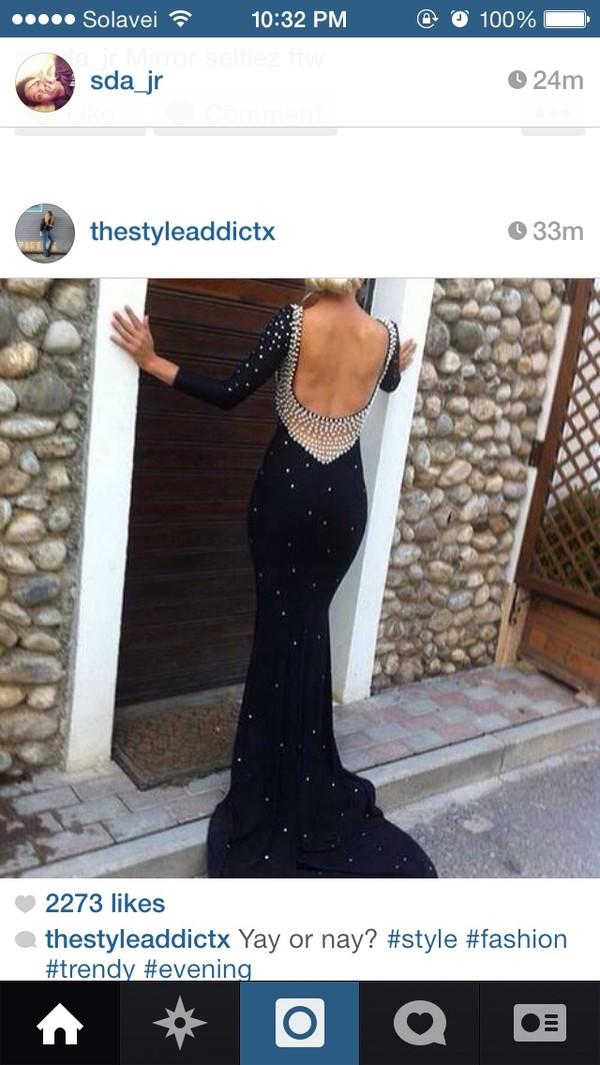 dress black long prom dress starry open back
