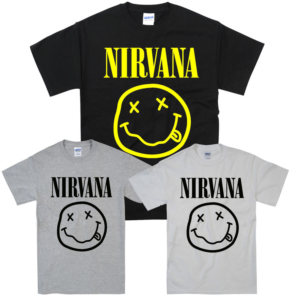 NIRVANA SMILEY ,GREY,WHITE, BLACK, T,SHIRT S,M,L,XL | eBay
