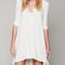 White 3/4 sleeve high-low button detail dress-top
