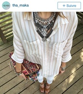 shirt,necklace,bag,jewels,silver jewlery,big silver jewels,ethnique,boho chic,boho bag,hippie bag,silver,white shirt,top,white top,gypsy,hippie,hippie chic,boho shirt,silver necklace,big silver necklace,big necklaces,shoes,outfit,statement necklace,statement,boho jewelry