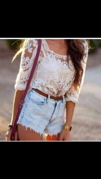 top lace high waisted bikini high waisted shorts belt outfit cute summer outfits style clothes