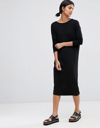 dress midi dress asos black dress clothes