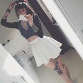 top,crop,velvet,crop tops,crushed velvet,black,tumblr,tumblr outfit,alternative,tattoo,long sleeves,skater skirt,goth,gothic lolita