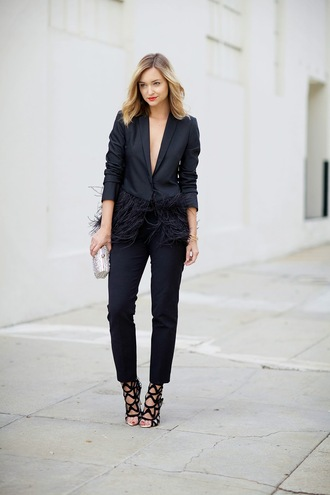 late afternoon blogger jacket jewels blazer feathers clutch black heels tailoring pants power suit black pants womens suit black blazer fringes silver clutch metallic metallic clutch sandals caged sandals black sandals sandal heels high heel sandals shoes bag two piece pantsuits matching set