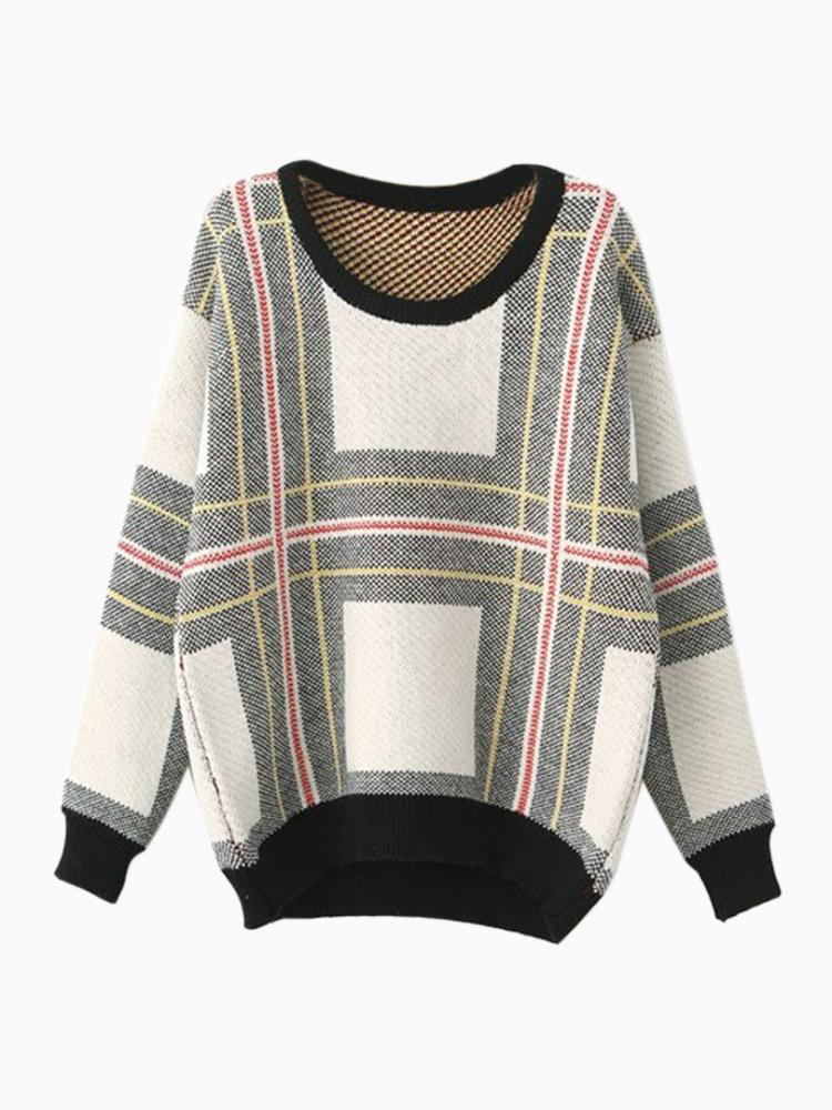 Stripe Plaid Jumper With Contrast Black Trim | Choies