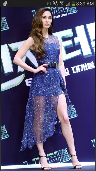 megan fox sparkly high low dress