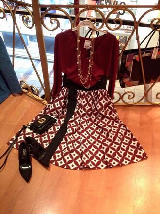 skirt red chic blouse black shoes black bag feminine classy stylish midi skirt necklace long necklace layered pearl black heels black belt