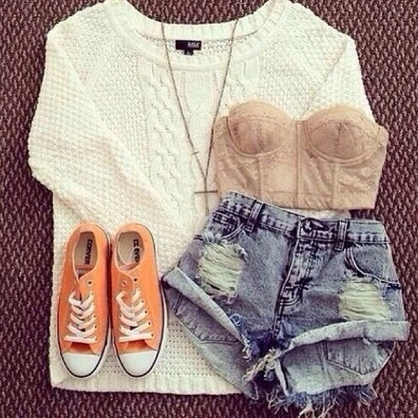 sweater shorts demin shorts ripped shorts jumper white neck lace converse orange blouse underwear tank top