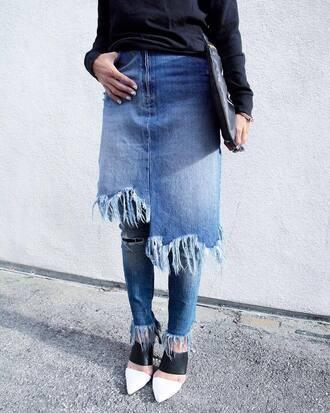 skirt tumblr midi skirt denim denim skirt asymmetrical blue jeans frayed denim frayed denim skirt mules bag