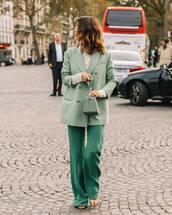 pants,wide-leg pants,satin,sandals,blazer,lace,blouse,handbag,chain bag