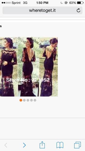 dress black lace long dress with deep p v back