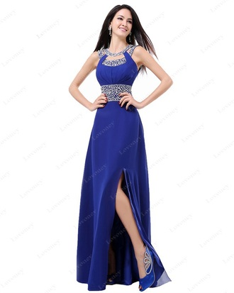dress evening dress prom dress graduation dress royal blue dress split sexy dress chiffon long evening dress