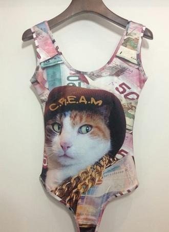 jumpsuit cats hood urban c.r.e.a.m bodysuit style trendy urban outfitters swimwear