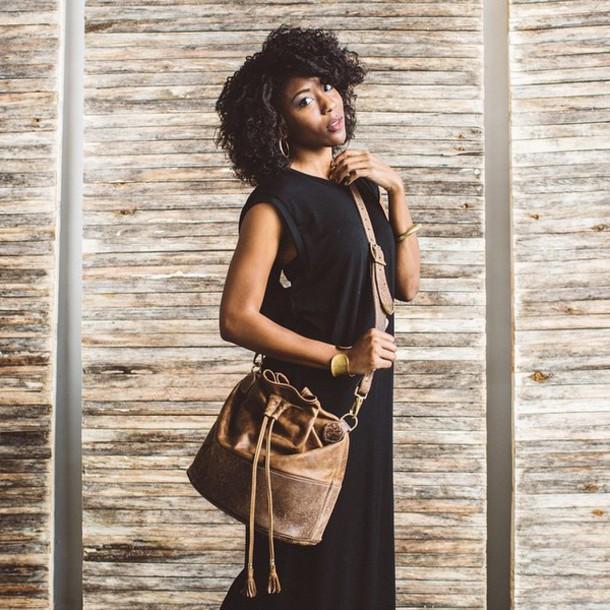 bag fount bucket bag brown leather bag cross body