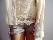 lace,white t-shirt,shirt,shorts