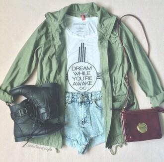 jacket green jacket army green jacket drawstring trenchcoat grunge bomber jacket green