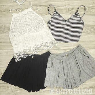 tank top lace shorts grey shorts