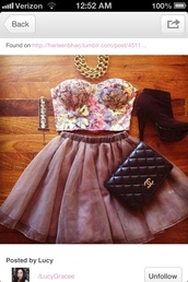 skirt,skater skirt,floral,bustier,gold,beautiful,party,jewelry,light pink,classy,chanel,jewels,gold chain,gold necklace,necklace