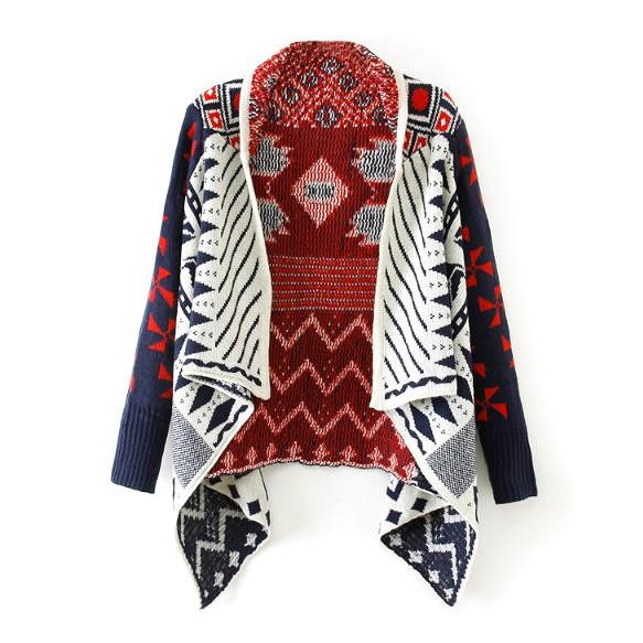 Contrast Sleeve Drape Front Navajo Cardigan