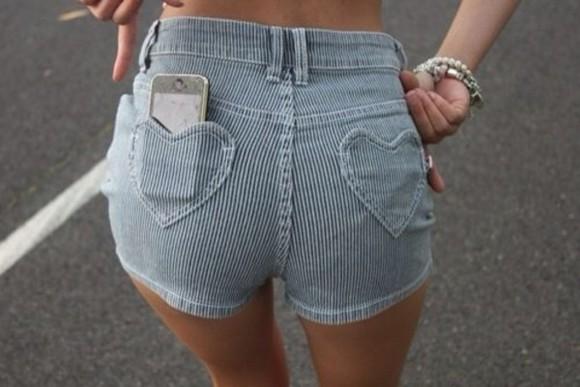 style women denim stripes heart heart shorts denim shorts