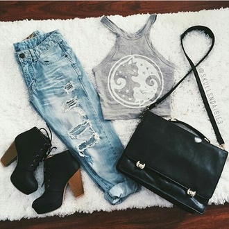 top cats grey grunge bag shoes jeans