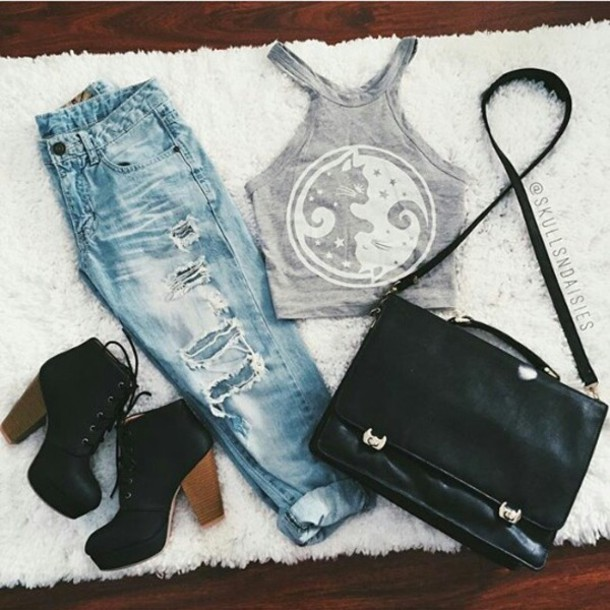 top,cats,grey,grunge,bag,shoes,jeans