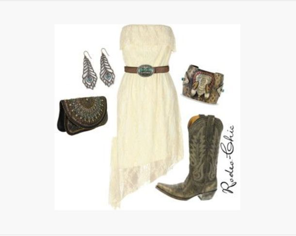 dress short dress ivory dress angled dress angled skirt strapless waist buckle bag clutch bracelets lace lacy earrings peacock earrings shoes boots cowboy boots clothes outfit