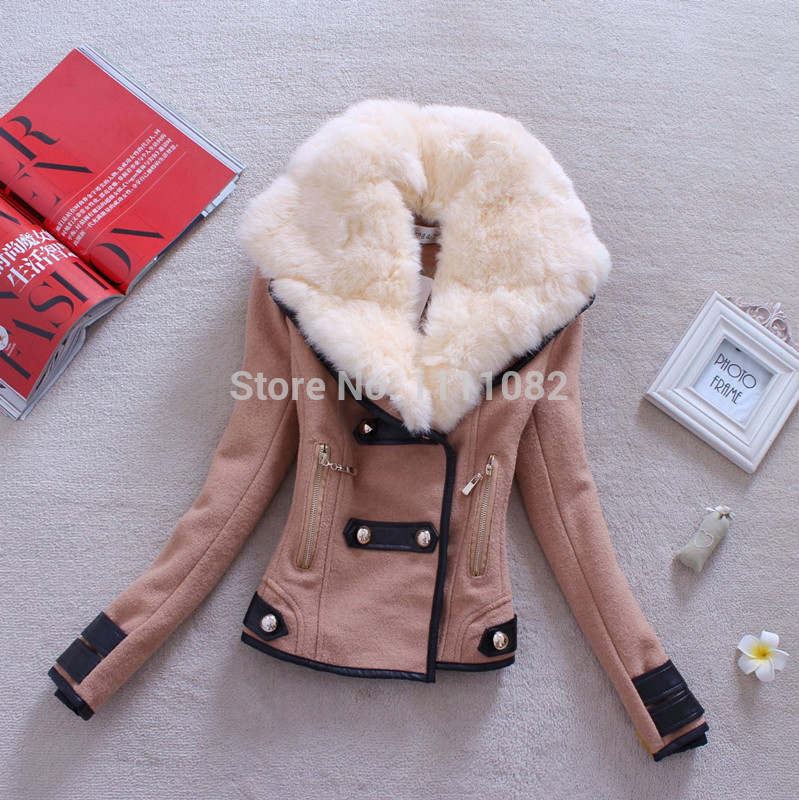 2014 Autumn Winter Women Coat Woolen Down Jacket Casacos Femininos Desigual Rabbit Fur Coat Plus Size Spring Outerwear Overcoat-inDown & Parkas from Apparel & Accessories on Aliexpress.com