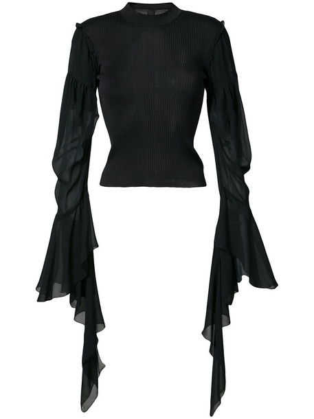 Vera Wang - draped sheer sleeves jumper - women - Silk - L, Black, Silk