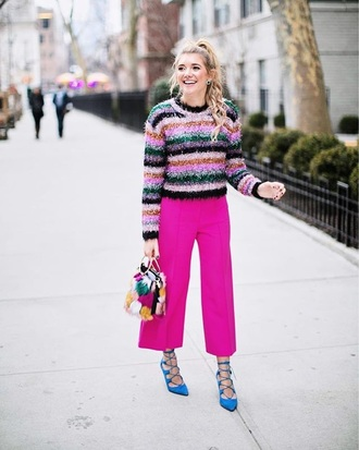 sweater striped sweater pants pink pants cropped pants blue heels stripes multicolor cullotes high heels heels
