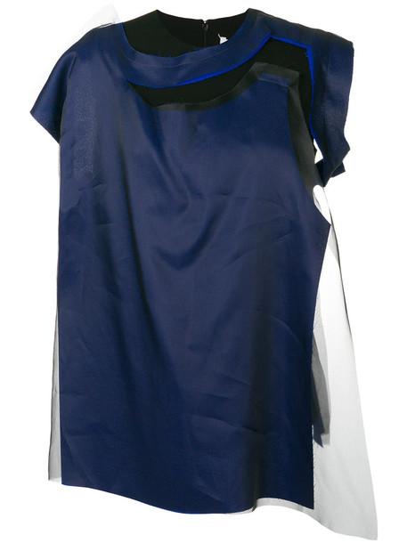MAISON MARGIELA blouse women draped blue silk top