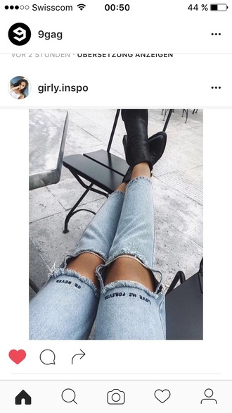 jeans legs blue blue jeans swag hipster tumblr ripped jeans