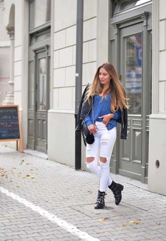 pants jacket shoes bag sweater pivonia blogger fall outfits boots flat boots blue sweater ripped jeans white jeans leather jacket