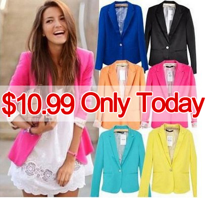 New Spring 2014 Tops blazer women candy coat jacket Foldable outerwear coats jackets  one button basic jacket  suit blazers-in Basic Jackets from Apparel & Accessories on Aliexpress.com
