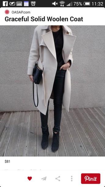 coat beige coat classy outfit oversized coat bag