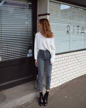 jeans,grey jeans,cropped jeans,booties,handbag,high waisted jeans,jumper,off the shoulder