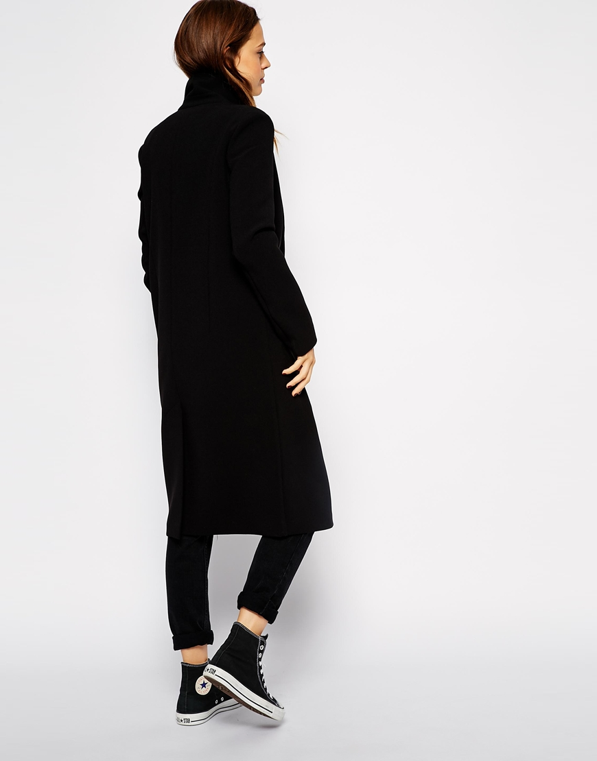 ASOS Midi Coat With Contrast Lining at asos.com