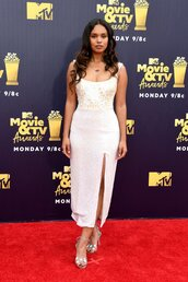 top,alisha boe,bodysuit,sequins,skirt,slit skirt,red carpet dress,mtv movie awards,sandals,sandal heels