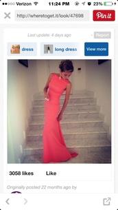 dress,prom dress,coral dress,long dress,long prom dress,prom coral,pink prom dress,cardigan,beige crossover cardigan,formal dress,evening dress,party dress