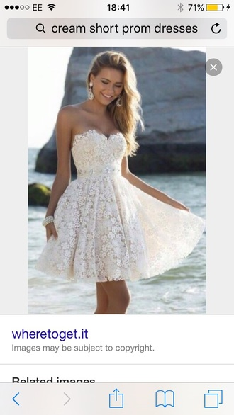 dress prom dress cream lace dress cute