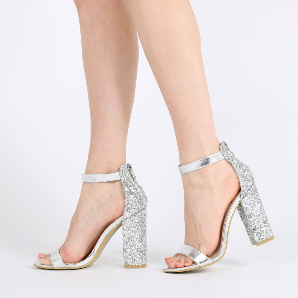 Juno Glitter Back Barely There Block Heels in Silver 1f3485aed327