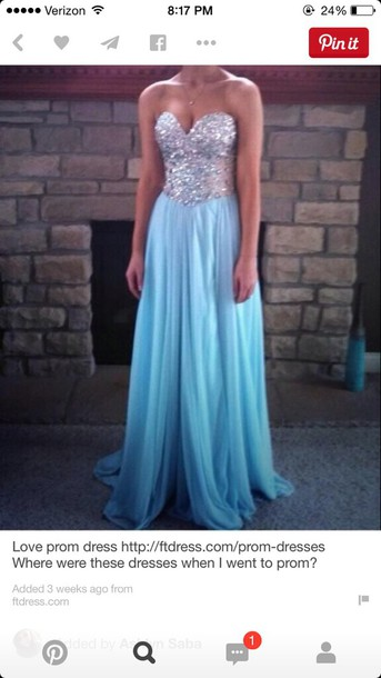 dress blue rhinestone prom long bkue