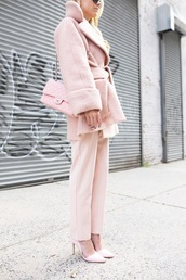 atlantic pacific,blogger,coat,jumpsuit,shoes,sunglasses,baby pink,all pink everything,pastel,pastel coat,All pink outfit,pink coat,pink winter outfit,monochrome outfit