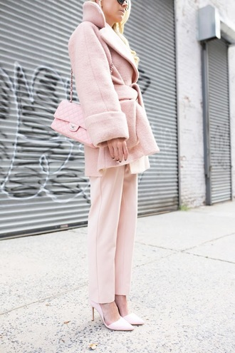 atlantic pacific blogger coat jumpsuit shoes sunglasses baby pink all pink everything pastel pastel coat all pink outfit pink coat pink winter outfit